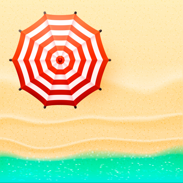 Beach top view sun umbrella and seaside vector illustration.