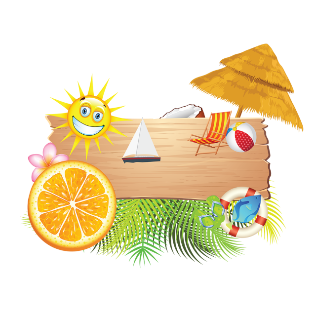 Summer holiday beach elements. Playa vector image transparent library