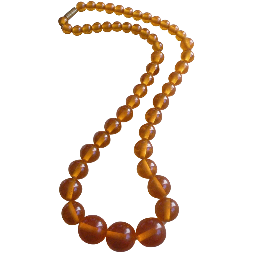 Bead necklace png. Art deco bakelite amber