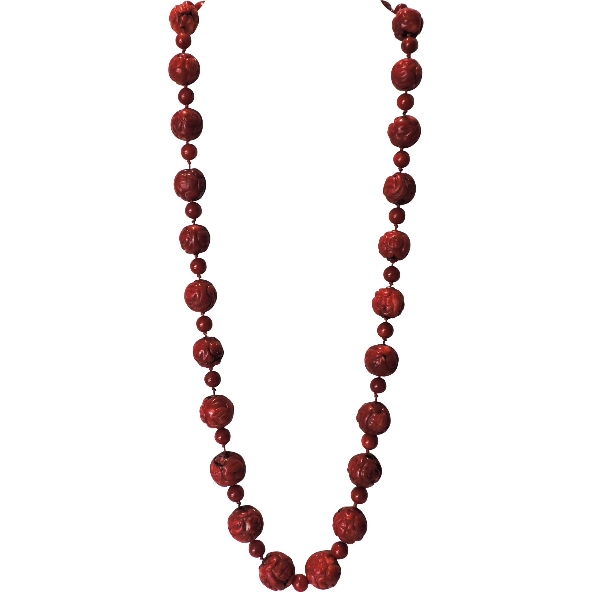 Beaded necklace png. Large red dark salmon