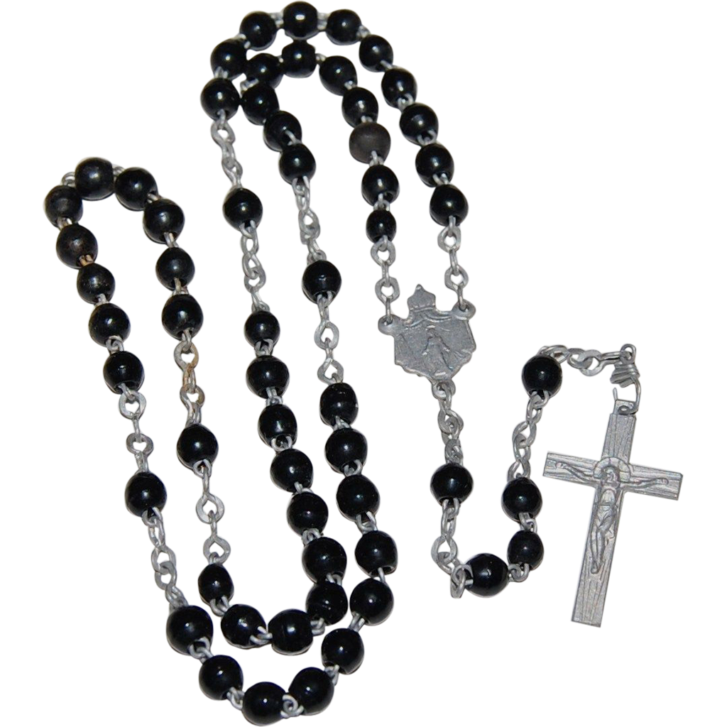Rosary transparent background. French black glass bead