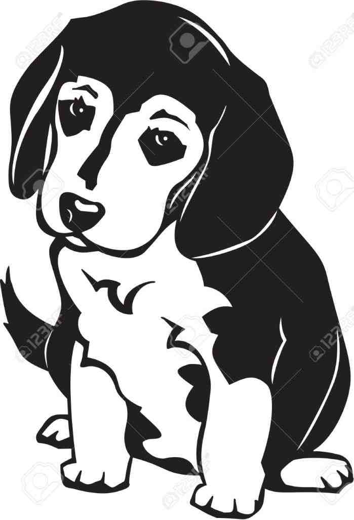 Beagle clipart black and white. Head silhouette at getdrawings
