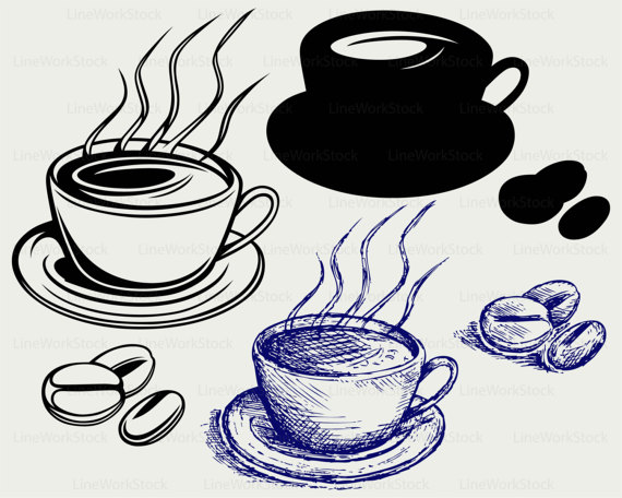 Beans clipart svg. Coffee cup drink silhouette