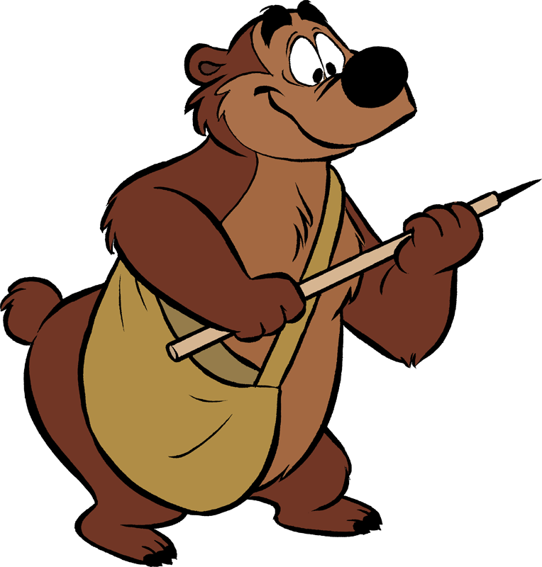 Humphrey the bear disney. Cartoon bigfoot head png picture black and white download