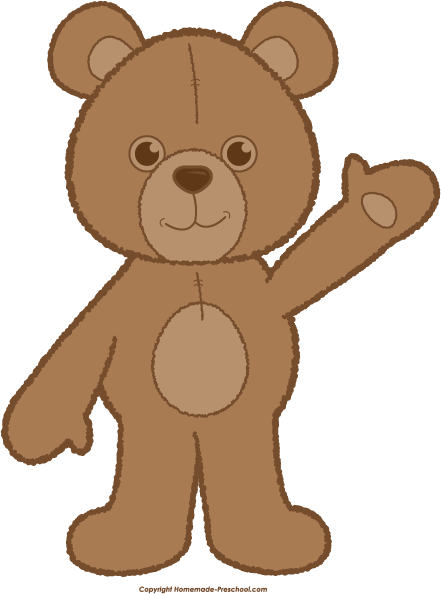 Bear clip art. Teddy waving brown png