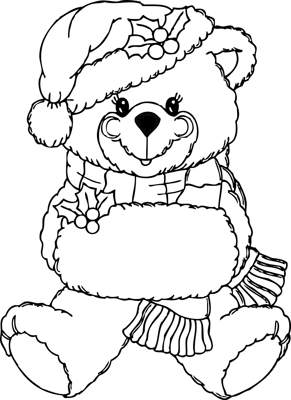 Bear clip art black and white. Christmas get coloring pages