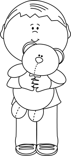 Boy holding a teddy. Bear clip art black and white clip download