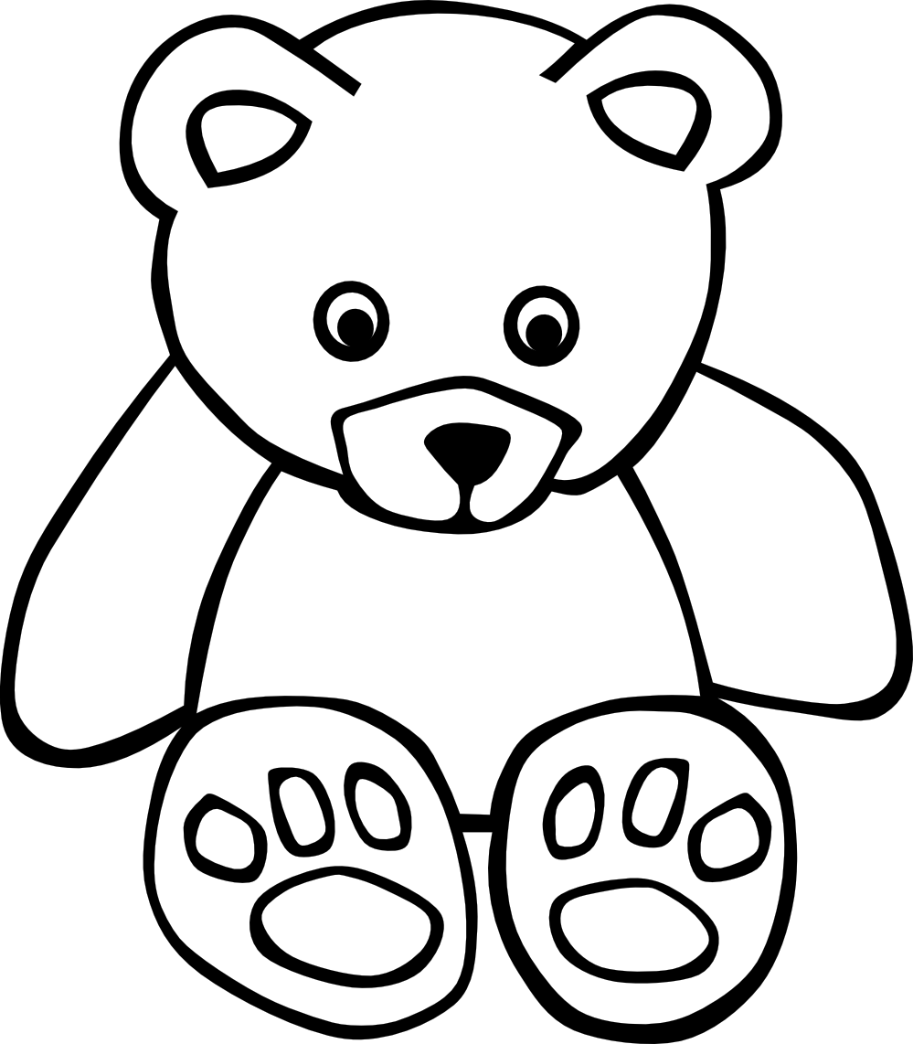 Nursery drawing toy. Bear black white line