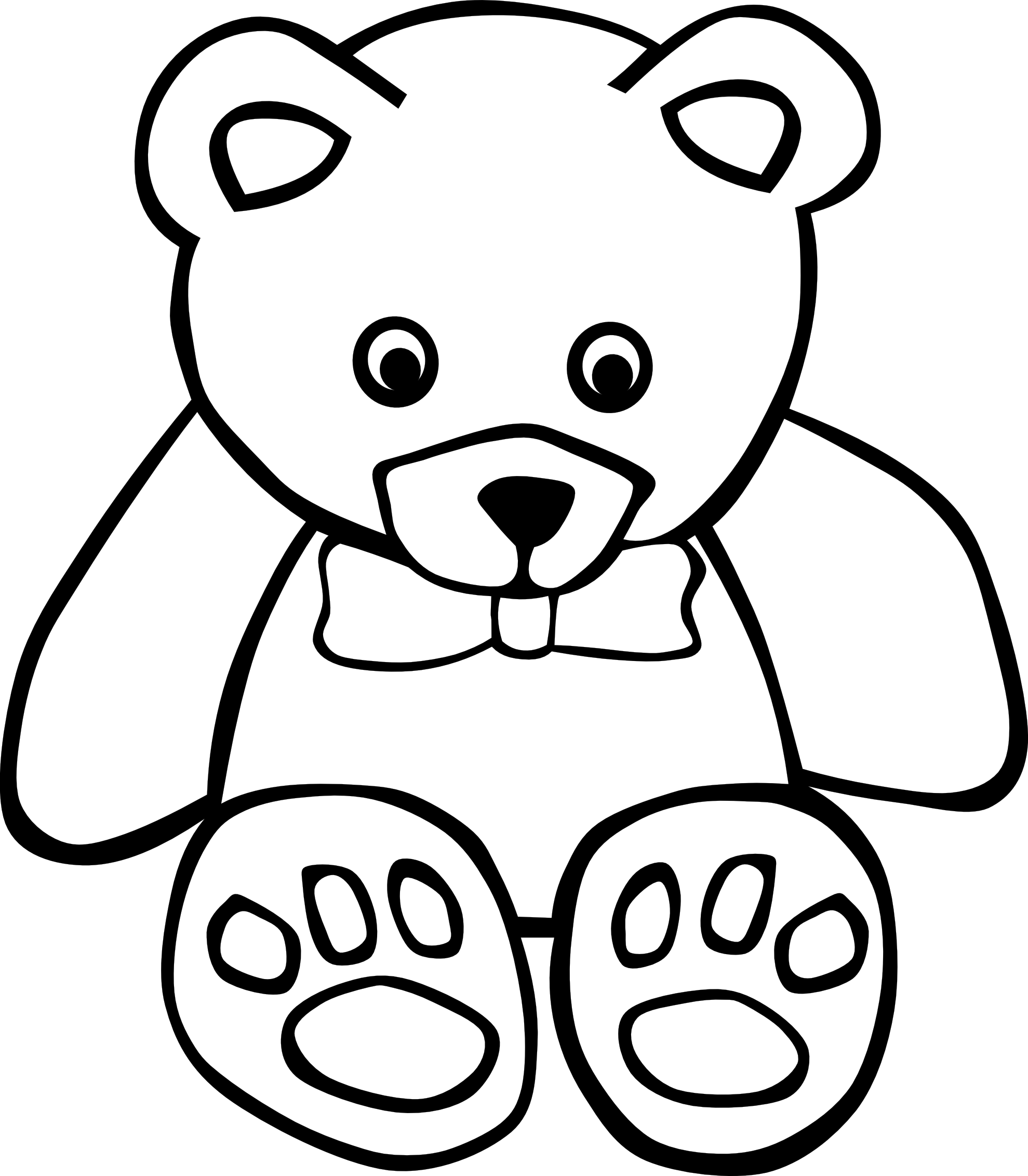 Bear clip art coloring. Teddy black and white