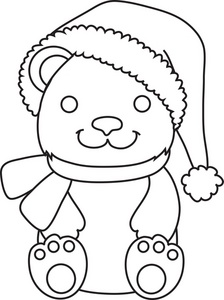 Bear clip art coloring. Free pages clipart image