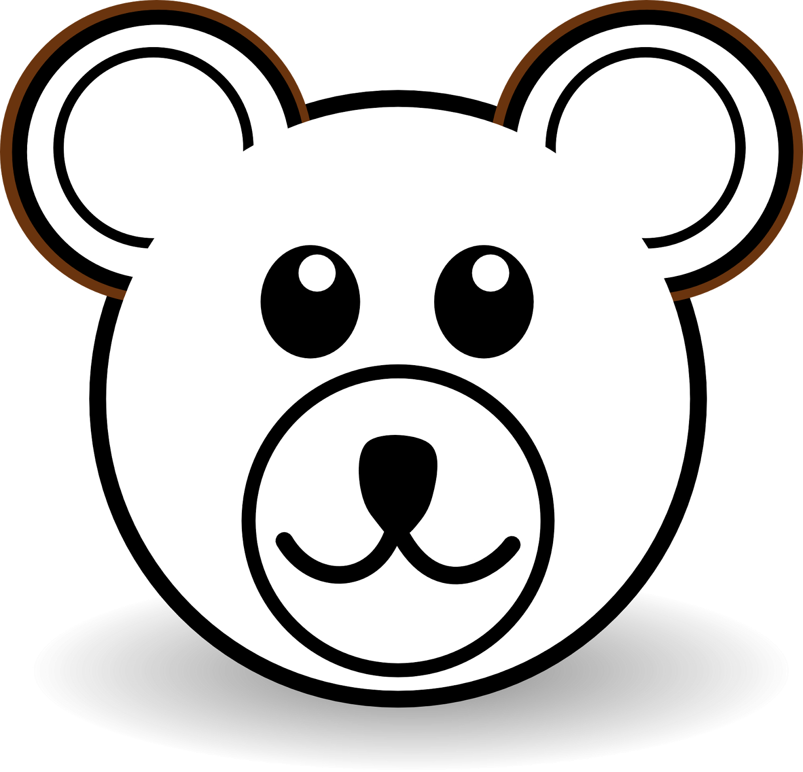 Bear clip art easy. Drawing teddy face free