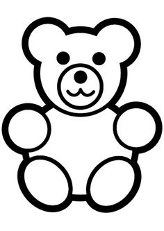 Bear clip art easy. Outline teddy coloring page