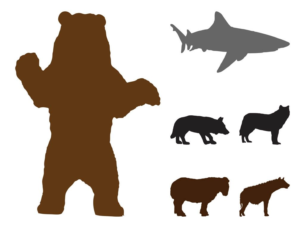 Free wild animals silhouettes. Bear clip art silhouette pattern graphic royalty free