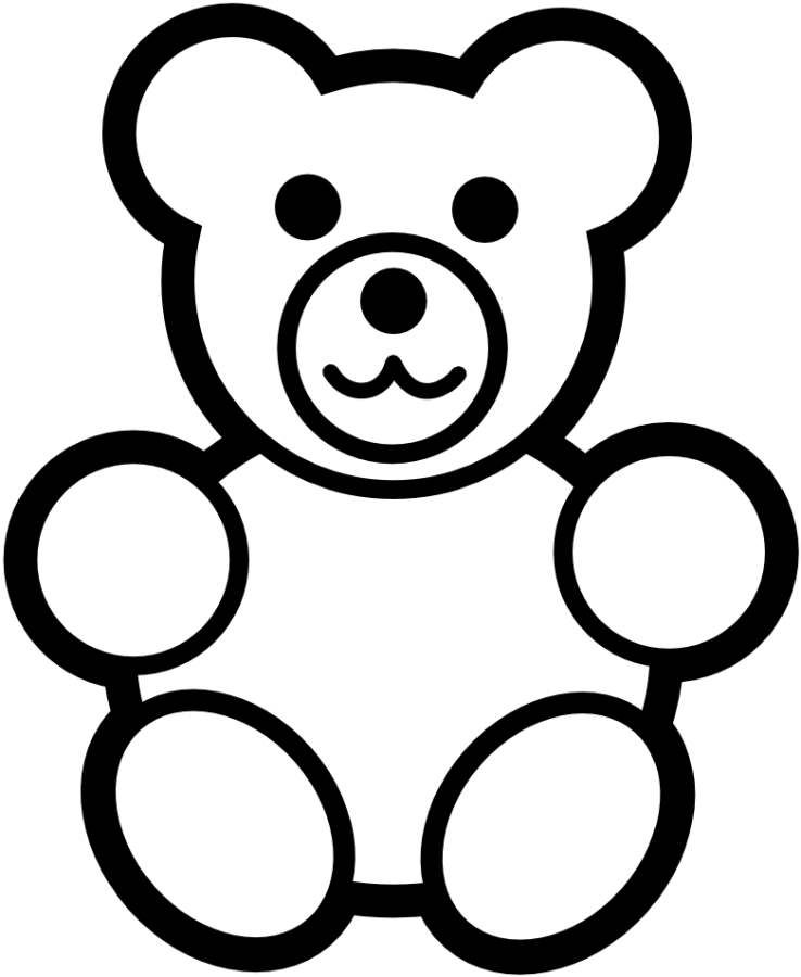 Bear clip art simple. Teddy black white coloring
