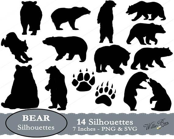 Bear clip art standing bear. Svg images paw black