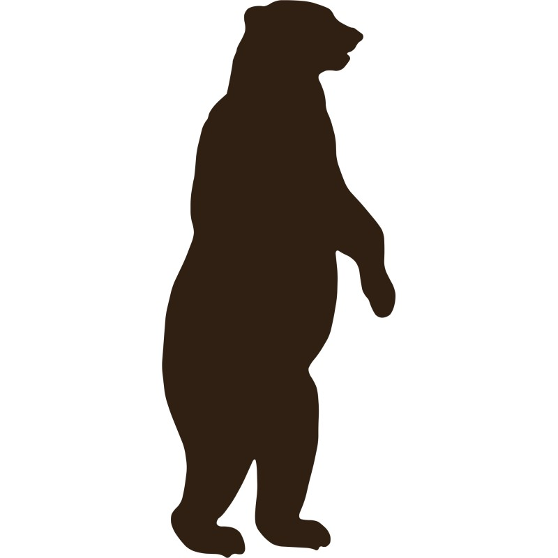 Bear clip art standing bear. Black silhouette at getdrawings