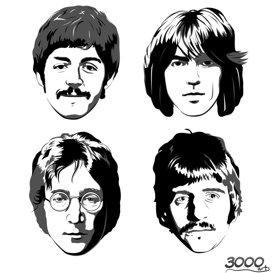 Beatles vector black and white. Manual old the
