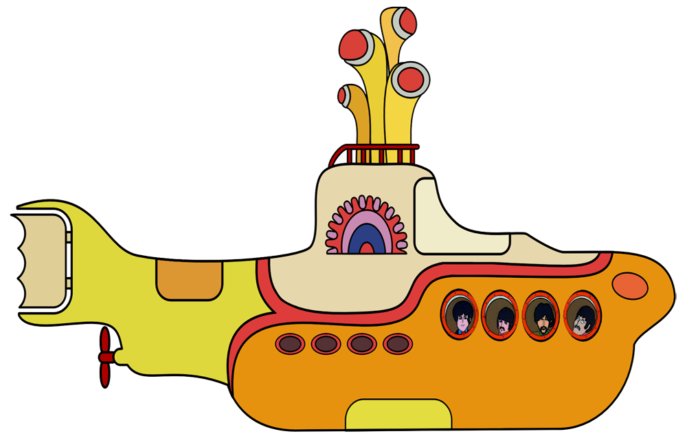 Beatles vector yellow submarine. Banner download free on
