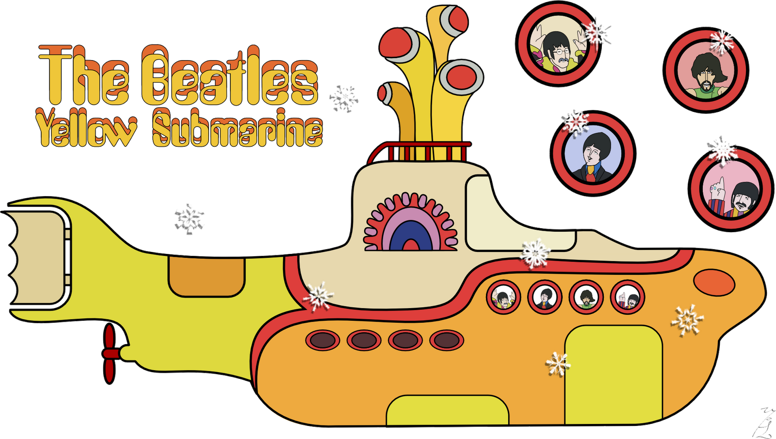 Beatles vector yellow submarine. The kit completo com