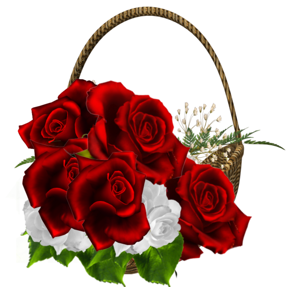 Beautiful clipart bunch. Red roses transparent basket