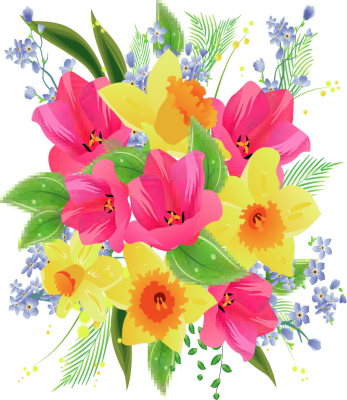 Transparent spring bouquet. Free birthday cliparts download