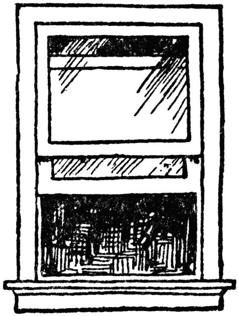 Open single hung window. Beautiful clipart sash image black and white library