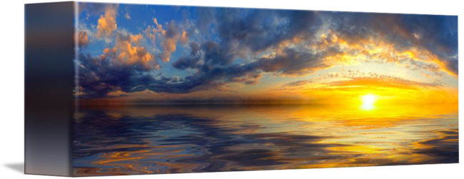 Drawing sunset beautiful. Panoramic with yellow clouds