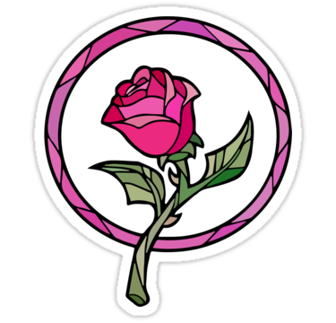 Beauty and the beast rose png. Stained glass sticker by