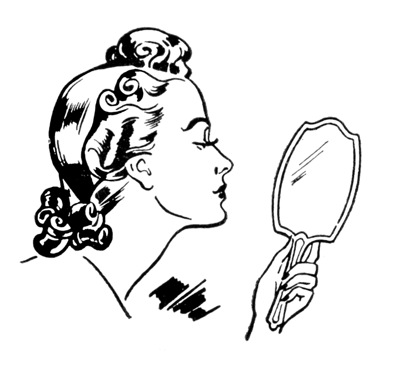 Beauty clipart. Retro ladies a day