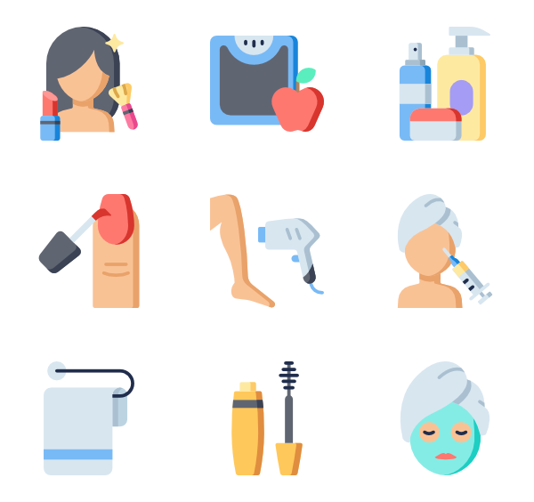 Icons transparent aesthetic. Beauty treatment free vector