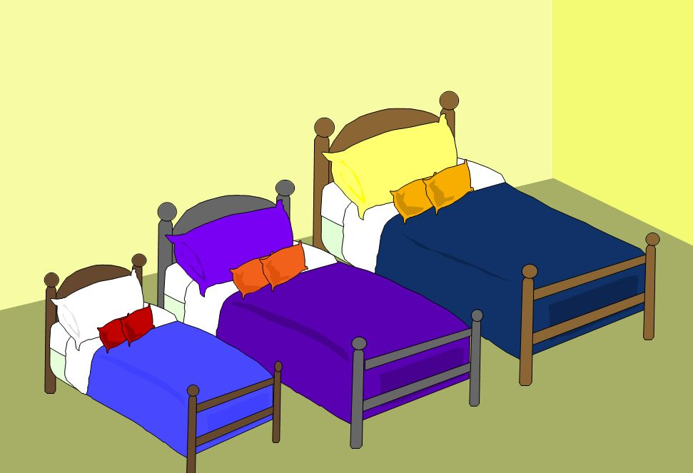 Bedroom clipart 3 bed. Goldilocks pencil and in
