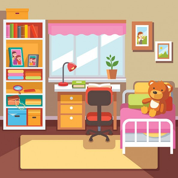 Room clipart. Bedroom childrens pencil and