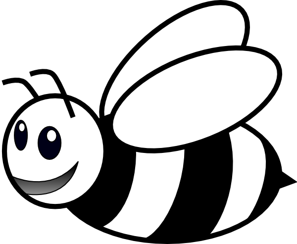Bee black and white png. Clip art at clker