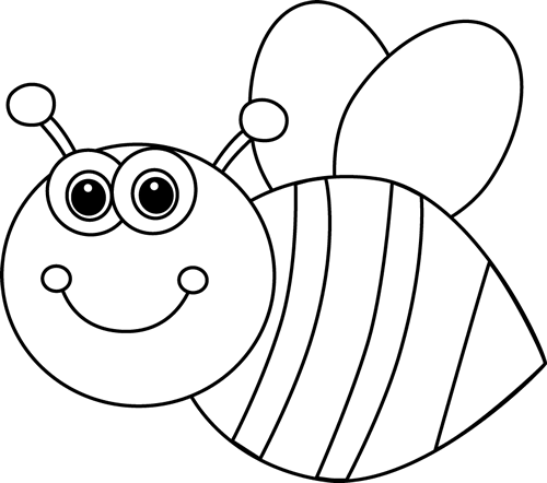 Bee clip art black and white. Cute cartoon