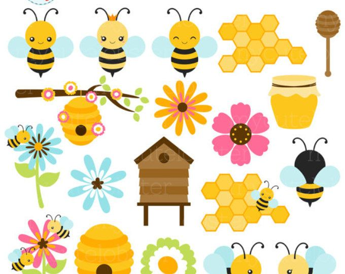 Bee clip art cute. Bees clipart set of