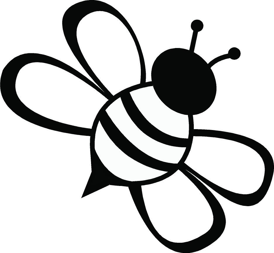 Bee clip art silhouette. Line drawing simple clipart