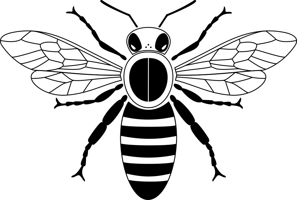 Bee clip art simple. Onlinelabels from above