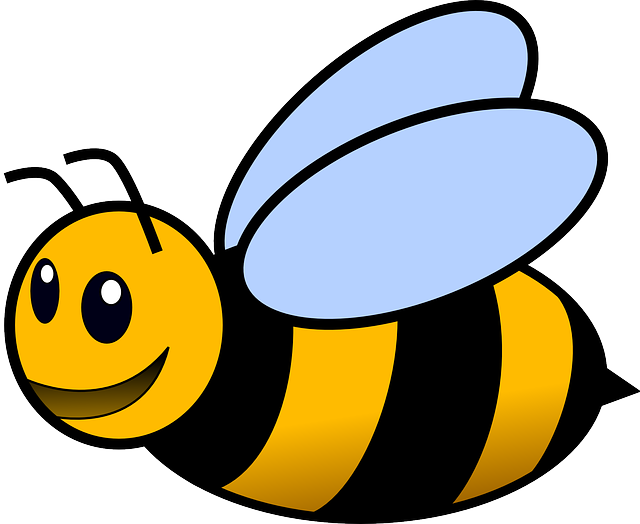 Honey bee drawing png. Black simple outline yellow