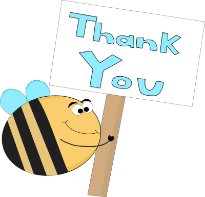 Bee clip art thank you. Sign image