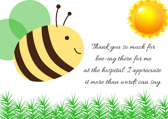 Bee clip art thank you. Note wording for hospital