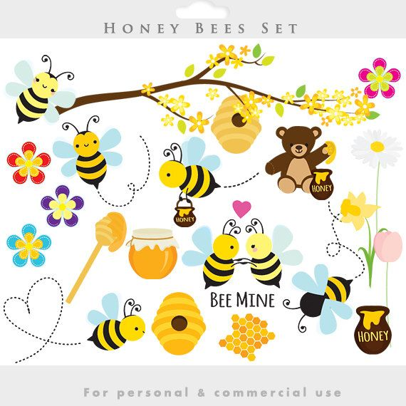 Bee clip art whimsical. Bees clipart honey spring