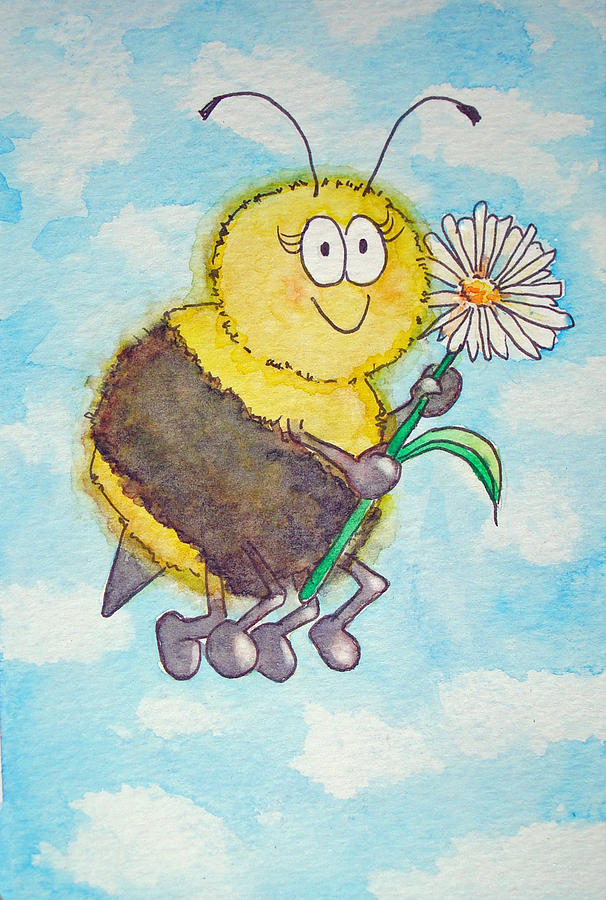 Bee clip art whimsical. Happy watercolor painting by