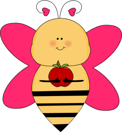 Bee clip art whimsical. Heart with an apple
