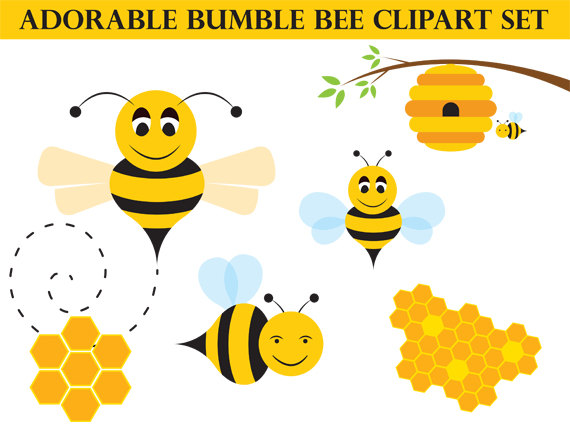 Bee clip art whimsical. Honey bumblebee commercial use