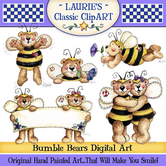 Bee clipart bear. Bumble laurie furnellbears dressed