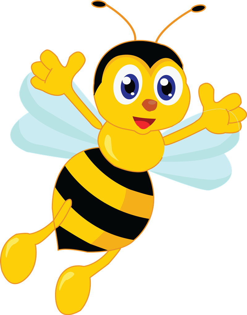 Bees transparent easy cartoon. Happy flying bumble