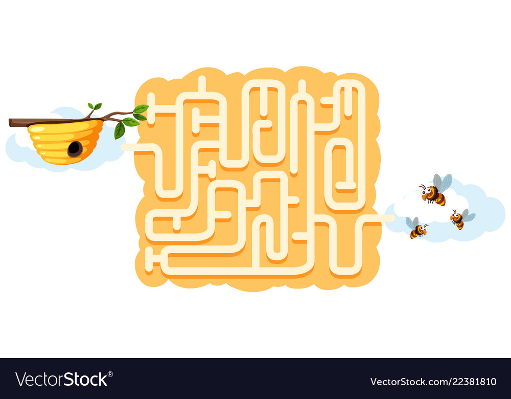 Bee muzzle. Find beehive maze game