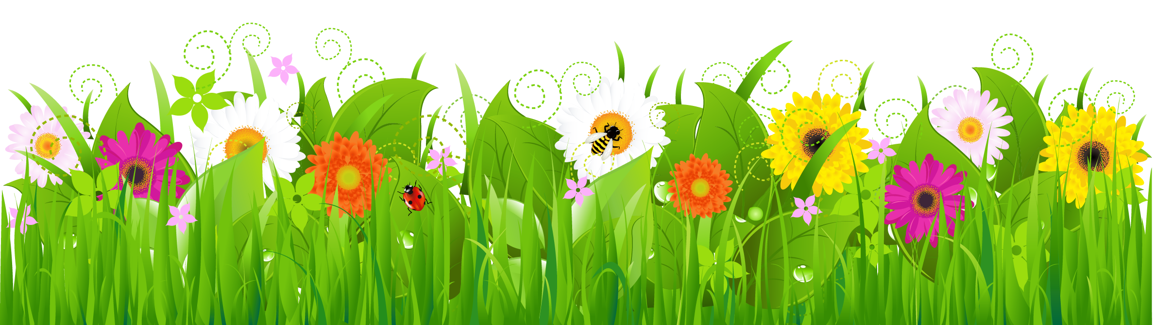 Landscape flowers png. Grass with and bee