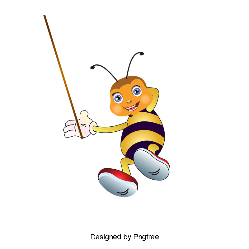 Wasp vector cartoon. Cute bee clipart png
