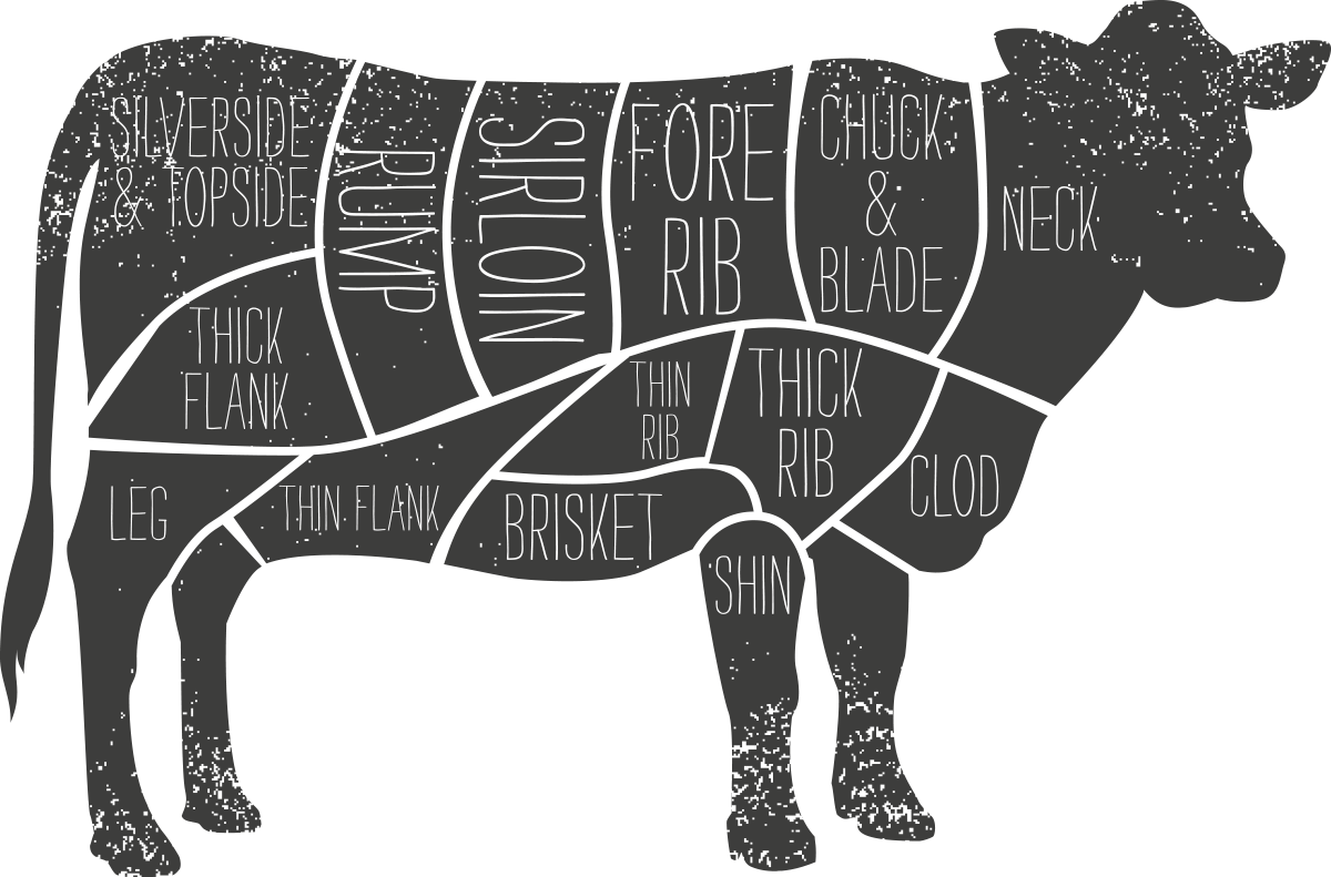 Beef vector butchery. Buying guide smithfield market
